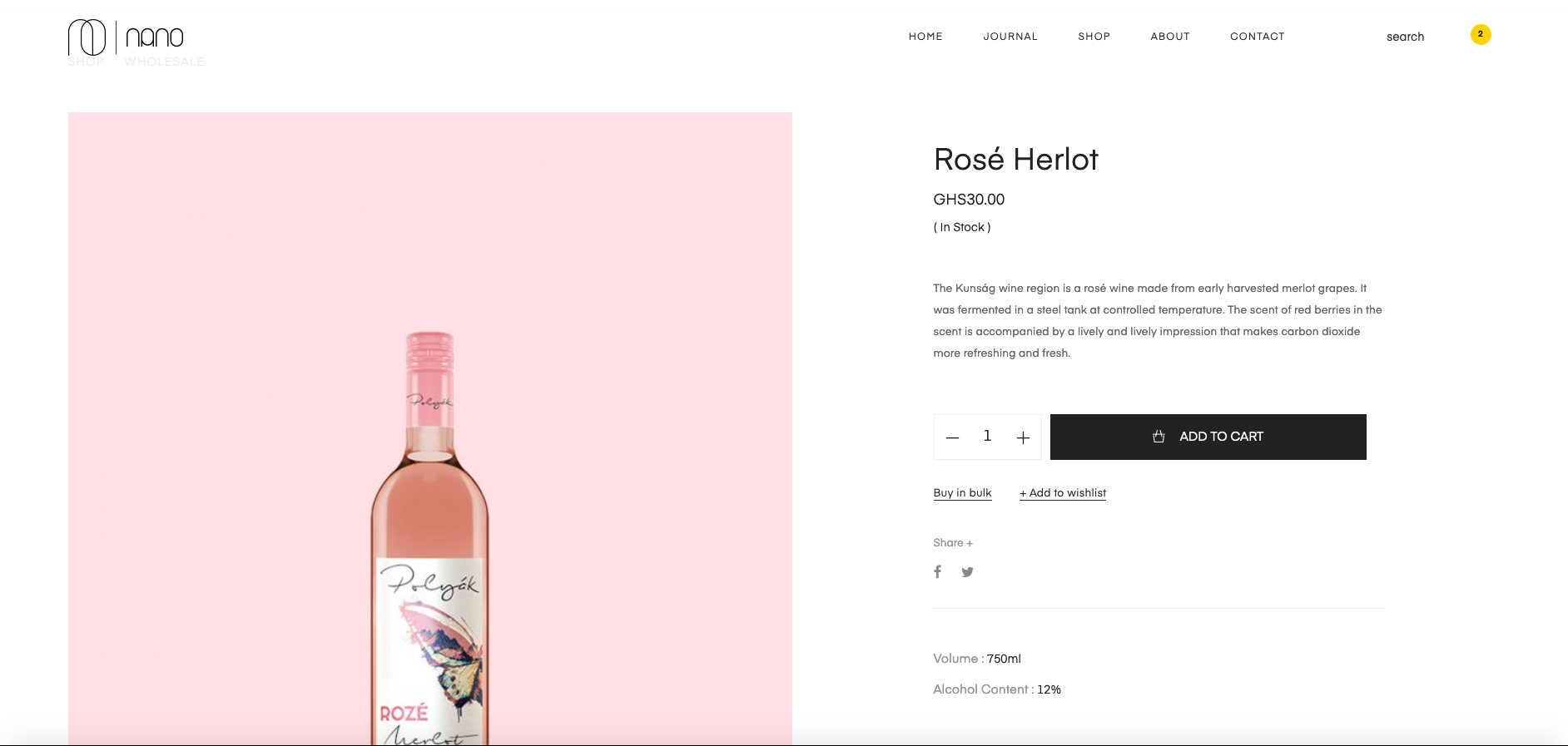 Nano wines and cards product page